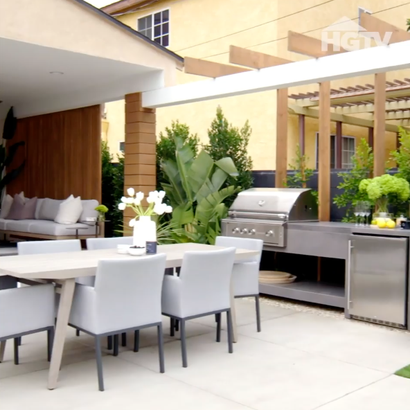 An 'after' shot of Nicole Leal's backyard before it was transformed by Rebel Wilson on HGTV's 'Celebrity IOU'