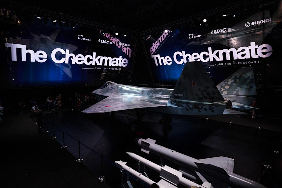 """A prototype of Russia's new Sukhoi Checkmate Fighter is on display during the presentation at the MAKS 2021 International Aviation and Space Salon, in Zhukovsky, outside Moscow, on July 20, 2021. Russian President got a sneak peek of a next-generation stealth fighter jet dubbed """"The Checkmate"""" ahead of the official unveiling later in the day. / AFP / Dimitar DILKOFF"""
