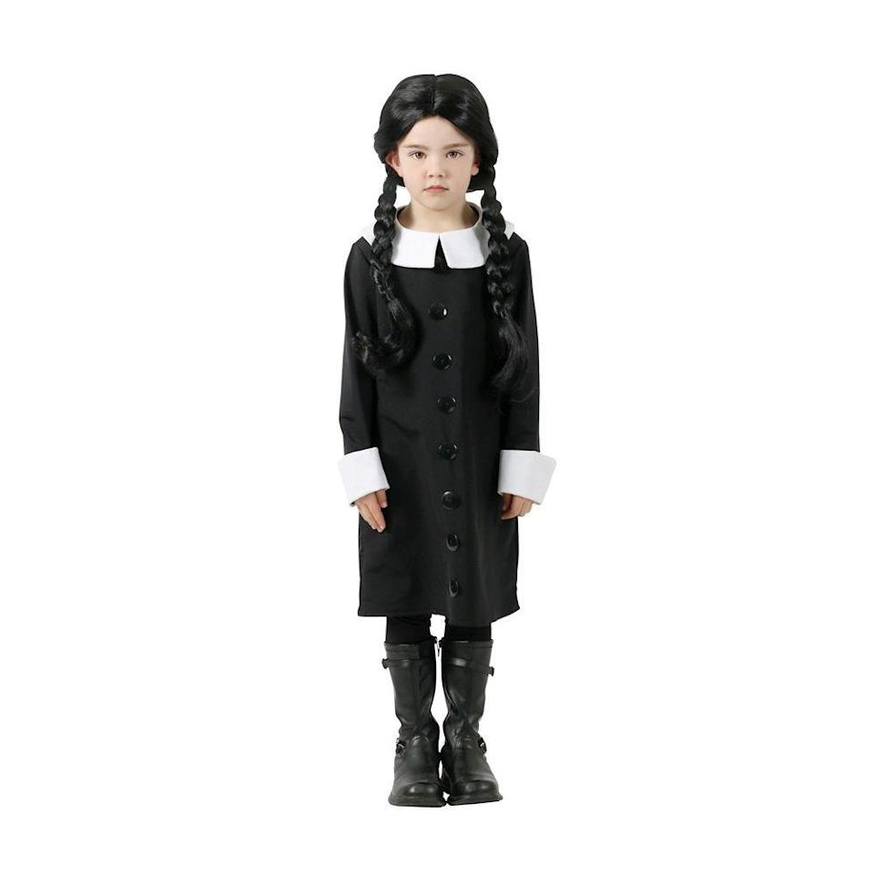 """<p><strong>Addams</strong></p><p>halloweencostumes.com</p><p><strong>$29.99</strong></p><p><a href=""""https://go.redirectingat.com?id=74968X1596630&url=https%3A%2F%2Fwww.halloweencostumes.com%2Faddams-family-wednesday-addams-child-costume.html%3Fmpid%3D226487&sref=https%3A%2F%2Fwww.bestproducts.com%2Flifestyle%2Fg3023%2Fwednesday-addams-costume-dress%2F"""" rel=""""nofollow noopener"""" target=""""_blank"""" data-ylk=""""slk:Shop Now"""" class=""""link rapid-noclick-resp"""">Shop Now</a></p><p>You may have loved <em>The Addams Family </em>for decades, but if your child's obsession first spawned from <a href=""""https://www.imdb.com/title/tt1620981/"""" rel=""""nofollow noopener"""" target=""""_blank"""" data-ylk=""""slk:the more recent animated version"""" class=""""link rapid-noclick-resp"""">the more recent animated version</a>, they may be more eager to mimic Wednesday's updated wardrobe.</p><p>This buttoned-up dress coat looks <em>just</em> like one she wore in the 2019 movie with a longline button-down dress and a crisp Peter Pan-style collar. </p>"""
