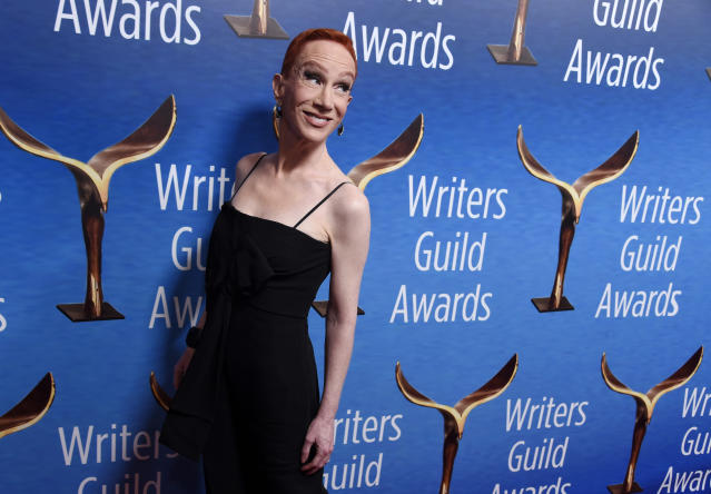 Comedian Kathy Griffin poses at the 2018 Writers Guild Awards at the Beverly Hilton on Feb. 11, 2018, in Beverly Hills, Calif. (Chris Pizzello/Invision/AP)