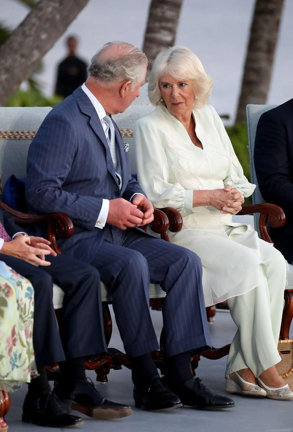 <p>For a celebration at Pedro's Castle in Grand Cayman, the Duchess of Cornwall wore mint green wide leg pants and caftan with a white chiffon overlay. </p>