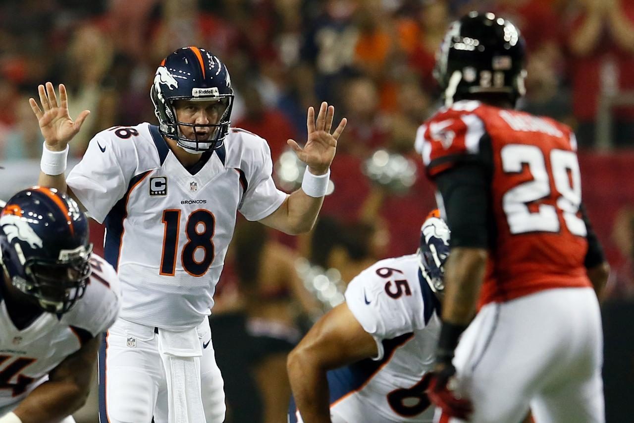 ATLANTA, GA - SEPTEMBER 17:  Quarterback Peyton Manning #18 of the Denver Broncos reacts against the Atlanta Falcons during a game at the Georgia Dome on September 17, 2012 in Atlanta, Georgia.  (Photo by Kevin C. Cox/Getty Images)