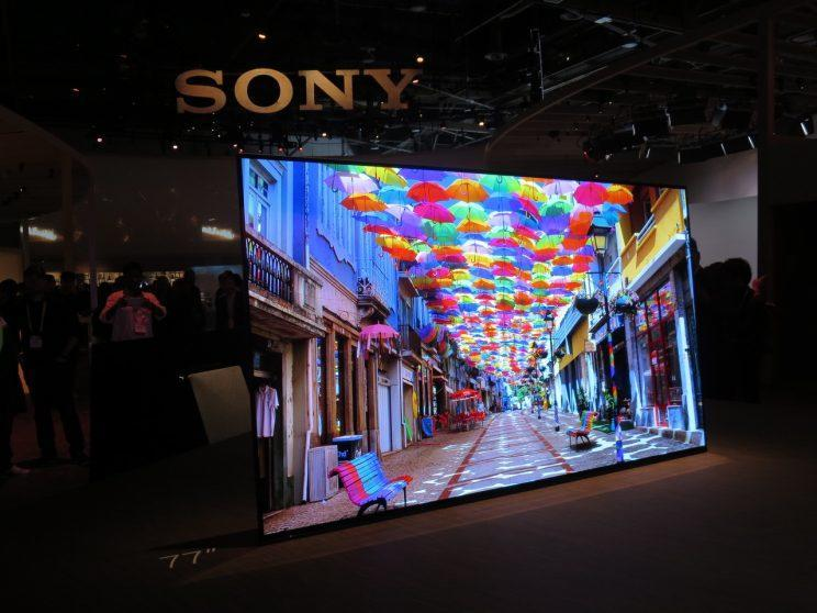 A 77-inch Sony TV at CES 2017.