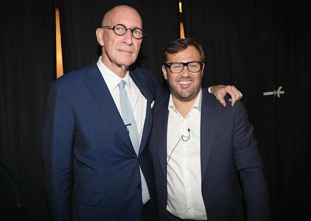 DAZN executive chairman John Skipper (L) and CEO James Rushton pose backstage at the launch of the global sports streaming service on July 17, 2018, in New York. (Getty Images)
