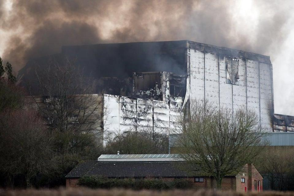 Ocado's warehouse in Andover, Hampshire, caught fire in 2019 (Andrew Matthews/PA) (PA Archive)