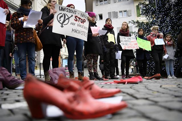 <p>Women demonstrate during a rally #MeToo against gender-based and sexual violence against women on the International Day for the Elimination of Violence against Women in Lausanne, Switzerland, Nov. 25, 2017. (Photo: Laurent Gillieron/EPA-EFE/REX/Shutterstock) </p>