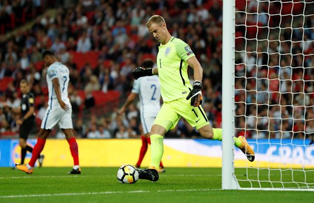 <p>Soccer Football – 2018 World Cup Qualifications – Europe – England vs Slovakia – London, Britain – September 4, 2017 England's Joe Hart kicks the ball after Slovakia's Stanislav Lobotka scored their first goal Action Images via Reuters/John Sibley </p>