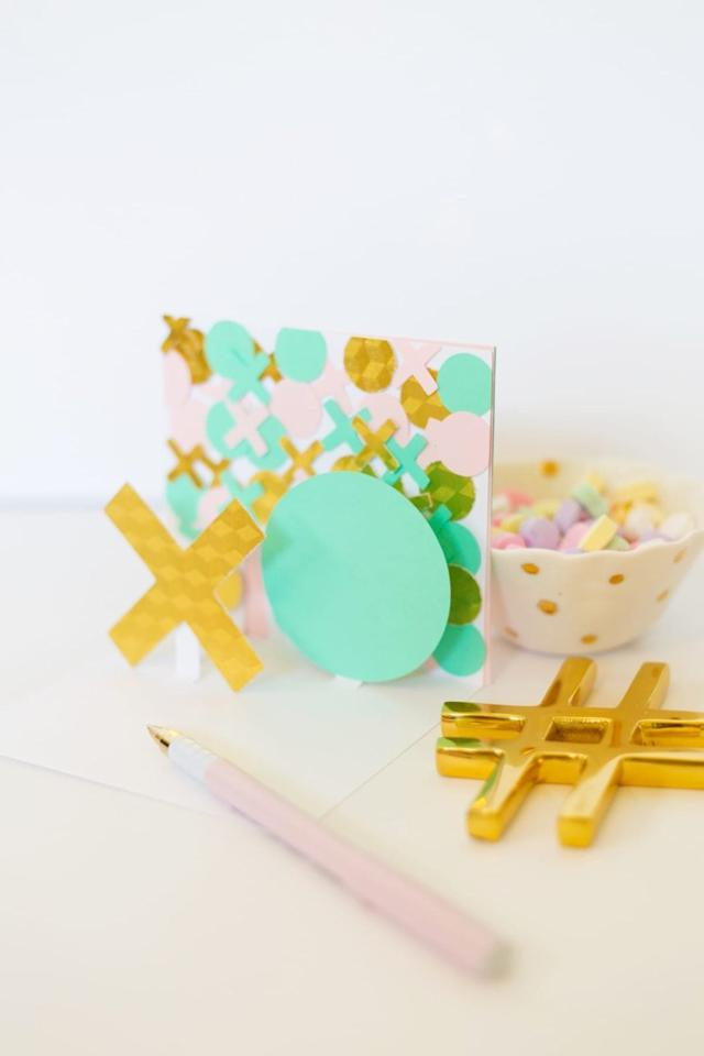 """<p>Lovely Indeed's <a href=""""https://lovelyindeed.com/diy-modern-valentine-pop-cards/"""" target=""""_blank"""" class=""""ga-track"""" data-ga-category=""""Related"""" data-ga-label=""""https://lovelyindeed.com/diy-modern-valentine-pop-cards/"""" data-ga-action=""""In-Line Links"""">DIY modern valentines</a> look complicated, but with a little <a href=""""https://ourpastimes.com/diy-modern-pop-up-valentine-cards-12632932.html"""" target=""""_blank"""" class=""""ga-track"""" data-ga-category=""""Related"""" data-ga-label=""""https://ourpastimes.com/diy-modern-pop-up-valentine-cards-12632932.html"""" data-ga-action=""""In-Line Links"""">prep work on the 3D base</a>, your kids will have these cool cards put together in no time. Materials include card stock in various colors, scissors, a craft knife, a pencil, a ruler, and glue.</p>"""