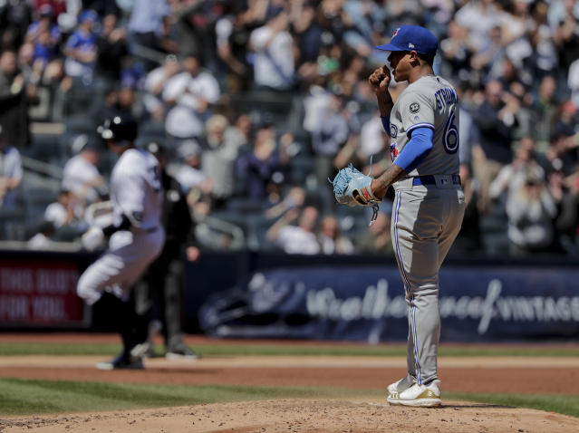Toronto Blue Jays pitcher Marcus Stroman (6) reacts after giving up a two-run home run to New York Yankees' Aaron Judge during the third inning of a baseball game, Saturday, April 21, 2018, in New York. (AP Photo/Julie Jacobson)