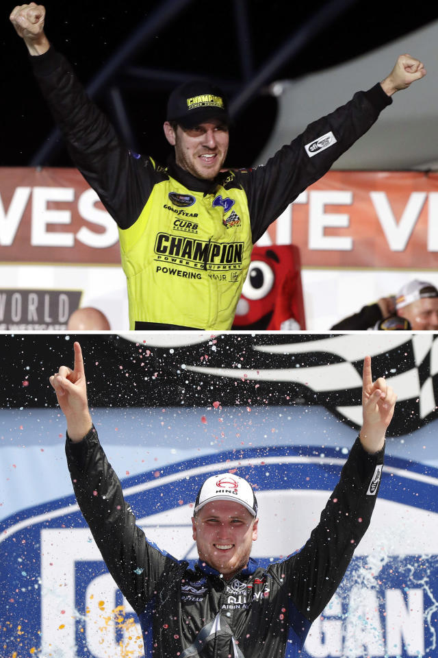 FILE - At top, in a Sept. 14, 2018, file photo, Grant Enfinger celebrates after winning a NASCAR Truck Series auto race at Las Vegas Motor Speedway in Las Vegas. Bottom, in an Aug. 10, 2019, file photo, Austin Hill celebrates winning a NASCAR Truck Series race at Michigan International Speedway in Brooklyn, Mich. Brett Moffitt, Ross Chastain, Austin Hill, Johnny Sauter, Stewart Friesen, Tyler Ankrun, Grant Enfinger and Matt Crafton are competing in the NASCAR Truck Series playoffs.(AP Photo/File)