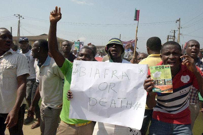 Protesters express their support of the creation of a breakaway state of Biafra in the southeast region of Nigeria (AFP Photo/Pius Utomi Ekpei)