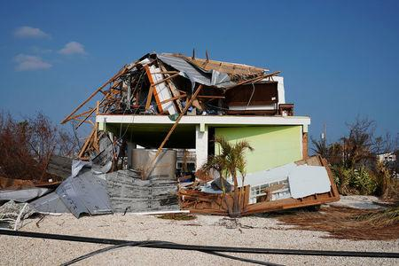 A destroyed house is pictuerd following Hurricane Irma in Ramrod Key, Florida