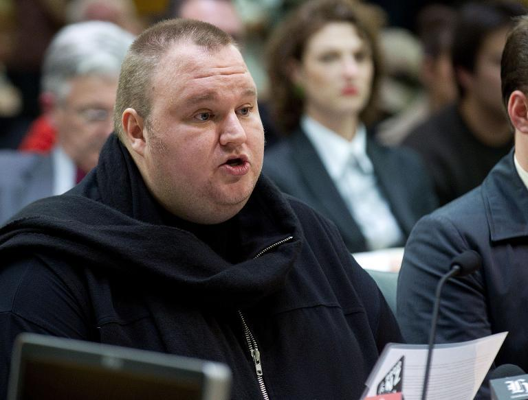 Megaupload founder Kim Dotcom speaks at Bowen House in Wellington on July 3, 2013