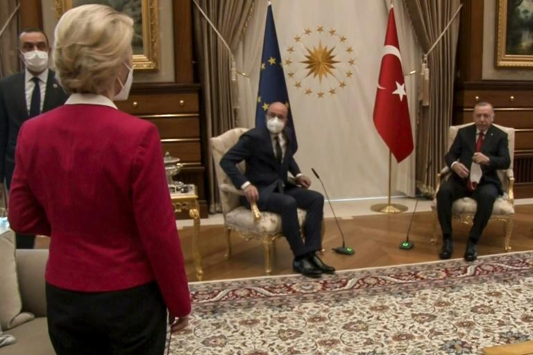 A video grab from footage released by the Turkish presidency shows Erdogan receiving EU Council President Charles Michel and EU Commission President Ursula von der Leyen -- who was left without a chair