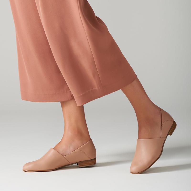 In tan, these have the luxe Euro look of flats that cost three times as much. (Photo: Clarks)