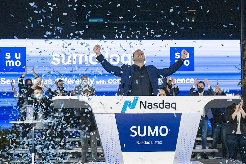 Ramin Sayar, president and chief executive officer at Sumo Logic Inc., reacts at the company's headquarters during the initial public offering (IPO) in Redwood City, California, U.S., on Thursday, Sept. 17, 2020. Sumo Logic opens trading at $26.64/share after its $325.6 million IPO priced at $22 per share, above its $17 to $21 offering range.