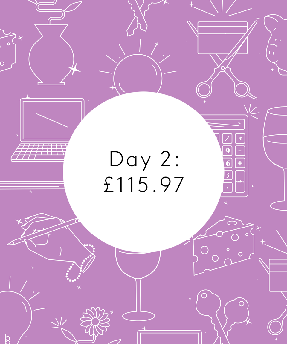 <strong>Day Two</strong><br><br>8.03am: Wake up naturally and go make a coffee to enjoy in bed. Get lost on TikTok for several hours and do an ASOS order for some new jeans, slippers and primer. £73.78<br><br>10.45am: Go downstairs to make some eggs on crumpets and another coffee, watch <em>Kardashians</em> on the sofa and then decide I need to leave the house to get some air and not get into a sad mood.<br><br>10.50am: My new Shark vacuum arrives! Talk about speedy service. Stick it on charge and get ready.<br><br>2pm: Finally leave the house, I couldn't tell you what on earth I did for those three hours. A side effect of my suspected ADHD is that I get so distracted and don't know where the time goes. I get the Tube to Canary Wharf (free with my travelcard from work) and go to Waitrose. I want to make a Nigella recipe for dinner. I buy the ingredients plus other stuff I don't need (carrot cake?) and stuff that I do (rosé wine). £42.19. Side note: I eat dinner with my parents at least three nights a week, which I never pay for, and I usually bring my own lunch to work so, since my travel is also paid for by work, I can spend a little more on food.<br><br>3.45pm: My dad briefly stops by for a cup of tea and to check on my houseplants. I am known in the family for neglecting them so he doesn't trust me, I also think he's checking in on me. When he leaves, I realise I didn't have lunch so I heat up leftover pasta from yesterday and have a slice of sourdough with Marmite.<br><br>5.45pm: Afternoon activities included washing my makeup brushes, hoovering with my new Shark (oh my god, the amount of hair in my carpets was disgusting) and trying to watch <em>The Sound of Music</em> on TV. I am forcing myself recently to really focus on doing one thing at a time to curb my suspected ADHD. It doesn't work and I end up watching TikToks while simultaneously watching the film...one of my worst habits.<br><br>7.30pm: Make Nigella's fish finger bhorta. Revolutionary, although it m