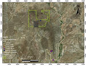 Project map showing geochemical and partial geophysical grids.