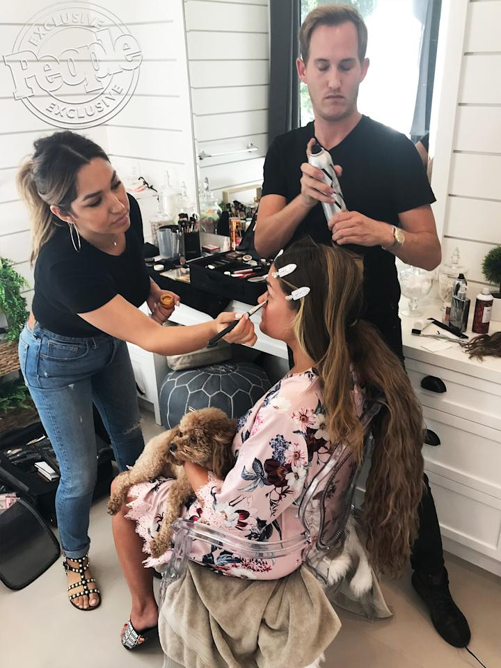 """Celebrity hairstylist <a href=""""https://www.instagram.com/hairbybradleyleake/?hl=en"""">Bradley Leake</a> and makeup artist Anais Cordova were the masterminds behind Brittany's glam look.  Leake tells PEOPLE that it wouldn't be a glam session with the star without her dog """"Sissy"""" Monroe sitting in during the getting-ready process, and <em>Friends</em> playing in the background. (According to Brittany's Instagram story, she watched """"The One With Joey's Award"""" before the People's Choice Awards red carpet.)"""