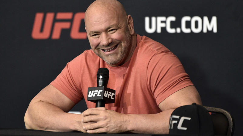 Dana White, pictured here talking to the media after UFC 251.