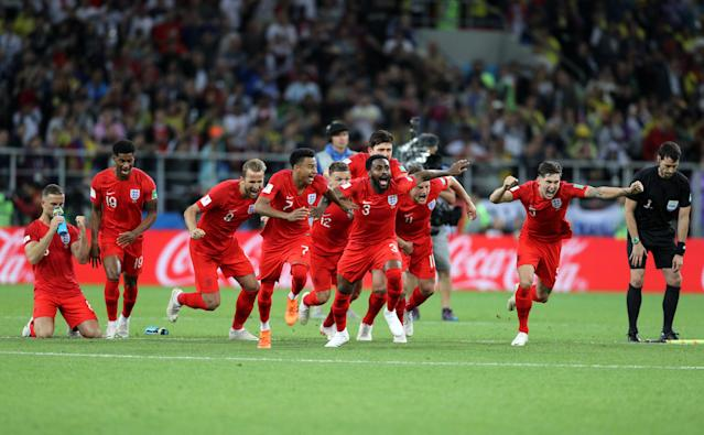<p>England celebrate winning the penalty shootout during the FIFA World Cup 2018, round of 16 match at the Spartak Stadium, Moscow. (Photo by Owen Humphreys/PA Images via Getty Images) </p>