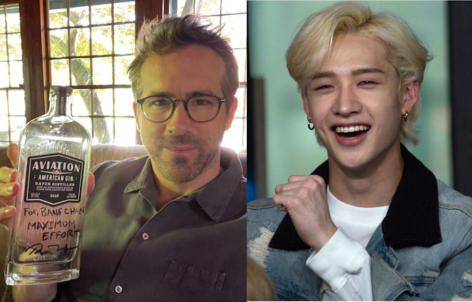 Ryan Reynolds signed an autograph for Stray Kids' Bang Chan on a bottle of Aviation Gin after the K-pop artist said he's a fan of the actor. (Photo: Ryan Reynolds/Twitter, Getty Images)