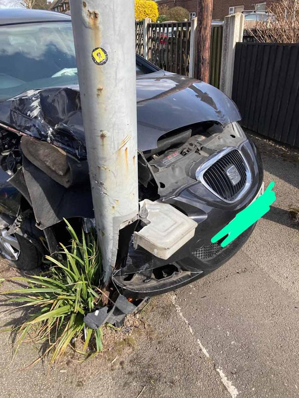 Paige's car was wrapped around a lamp post. PA REAL LIFE COLLECT