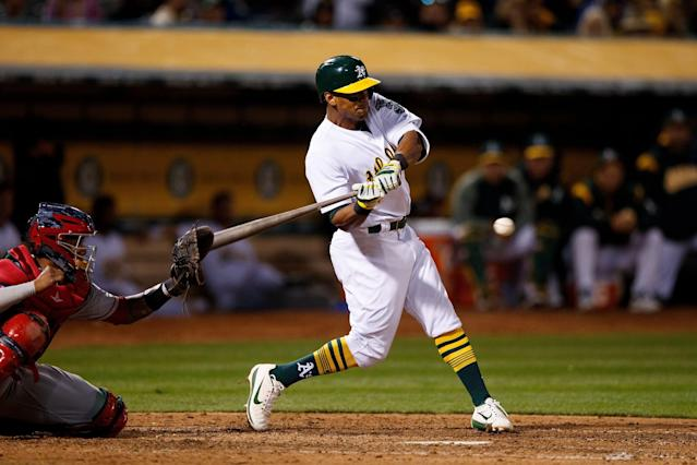 Will Khris Davis remain in Oakland? The outfielder hopes so. (Getty Images)