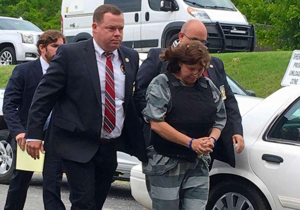 PHOTO:In this Monday, June 17, 2019, photo, Randolph County Sheriff Kevin Bell, left, leads Rebecca Lynn O'Donnell to a hearing in Randolph County Circuit Court in Pocahontas, Ark. (John Lee McLaughlin/The Jonesboro Sun via AP)