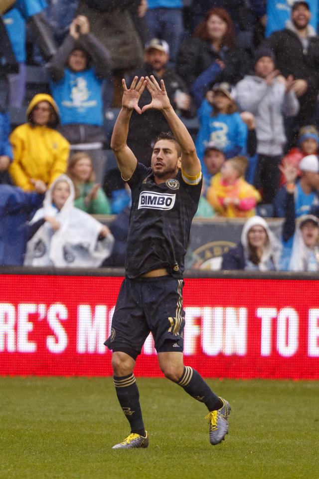 Philadelphia Union's Alejandro Bedoya reacts to his goal during first half of an MLS soccer Eastern Conference first-round playoff match against the New York Red Bulls, Sunday, Oct. 20, 2019, in Chester, Pa. (AP Photo/Chris Szagola)