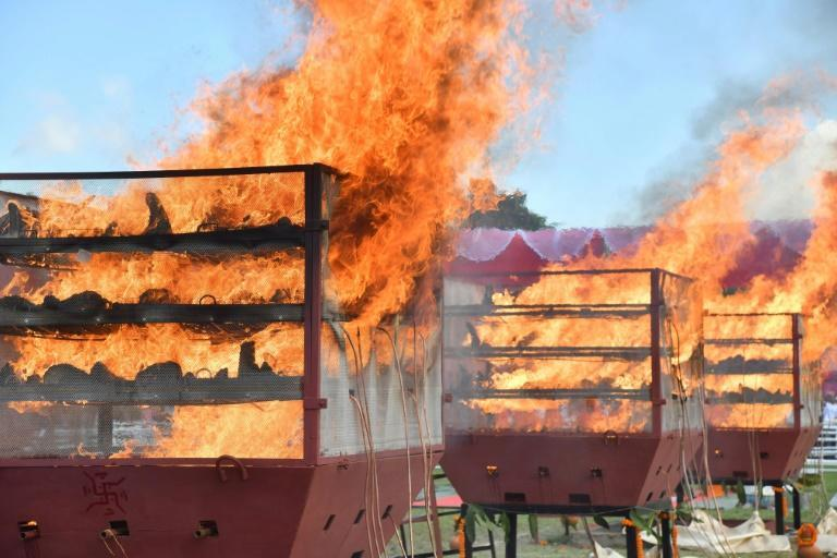 The horns were placed in large furnaces before being set alight (AFP/Biju BORO)