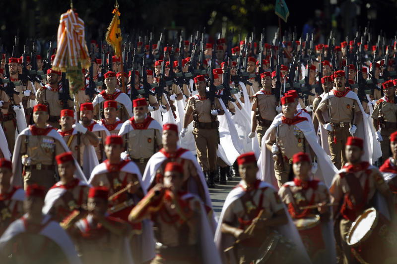 Melilla's regiment marches during a military parade on the holiday known as Dia de la Hispanidad, Spain's National Day, in Madrid, Saturday, Oct. 12, 2013. (AP Photo/Andres Kudacki)