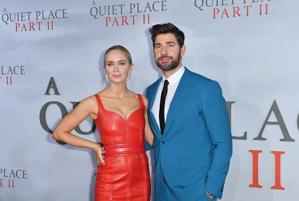 """US/British actress Emily Blunt (L) and husband US actor John Krasinski attend Paramount Pictures' """"A Quiet Place Part II"""" world premiere at Rose Theater, Jazz at Lincoln Center on March 8, 2020 in New York City. (Photo by Angela Weiss / AFP) (Photo by ANGELA WEISS/AFP via Getty Images)"""