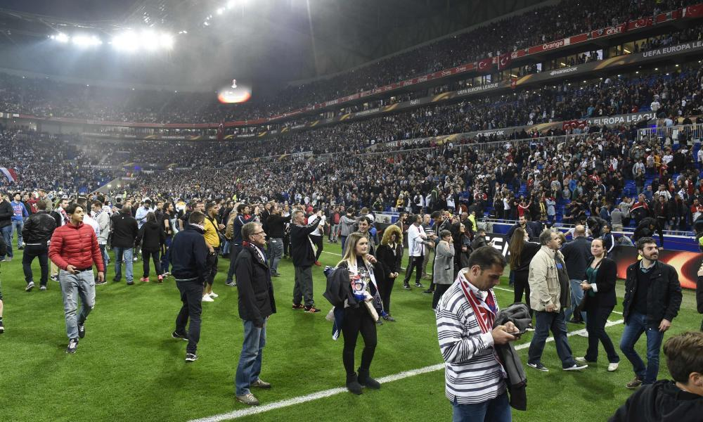 Football supporters before the Europa League tie between Lyon and Besiktas