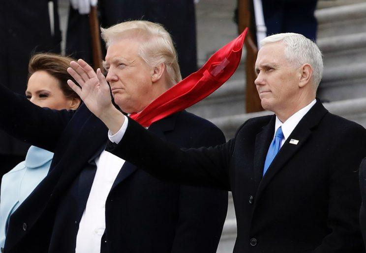 A gust of wind revealed tape on the back of Donald Trump's tie at his Inauguration.