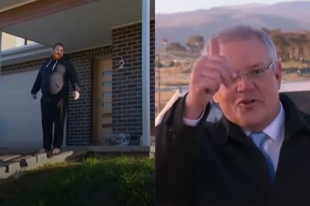 Australian PM interrupted by man asking journalists to get off his lawn