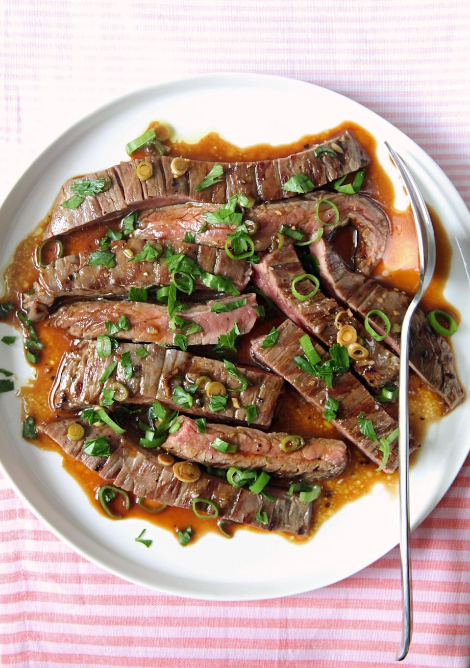 "<p>Hate when the herbs and seasoning get burnt onto your steak? Try this genius trick, marinating the beef after grilling to add bright and bold flavor.</p> <p><strong>Get the recipe:</strong> <a href=""https://www.popsugar.com/food/Easy-Grilled-Marinated-Skirt-Steak-Recipe-35539837"" class=""link rapid-noclick-resp"" rel=""nofollow noopener"" target=""_blank"" data-ylk=""slk:postgrill marinated skirt steak"">postgrill marinated skirt steak</a></p>"