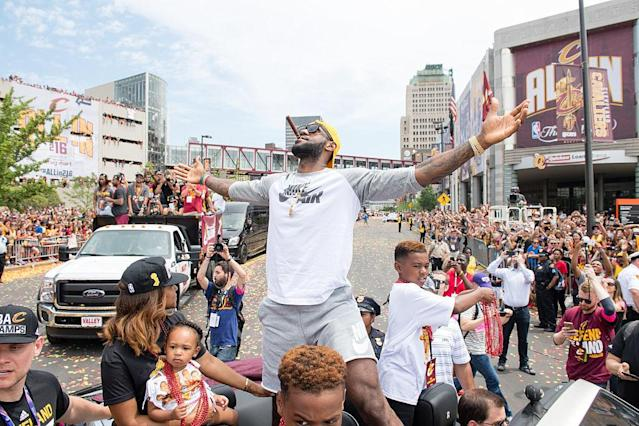 LeBron James celebrates during the Cleveland Cavaliers' 2016 NBA championship victory parade and rally. (Jason Miller/Getty Images)