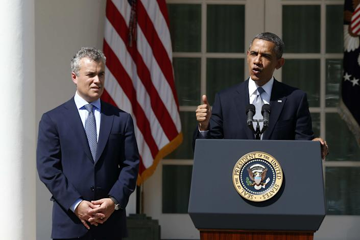 President Barack Obama, accompanied by acting budget director Jeff Zients, speaks about his proposed fiscal 2014 proposed budget in 2013, in the Rose Garden at the White House in Washington. (Charles Dharapak/AP)