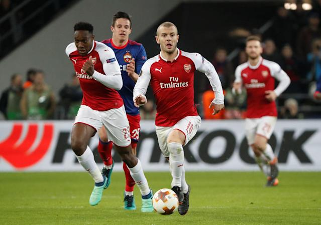 Soccer Football - Europa League Quarter Final Second Leg - CSKA Moscow v Arsenal - VEB Arena, Moscow, Russia - April 12, 2018 Arsenal's Jack Wilshere and Danny Welbeck in action REUTERS/Grigory Dukor