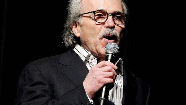 PHOTO: David Pecker, Chairman and CEO of American Media speaks at the Shape and Men's Fitness Super Bowl Party, in New York, Jan. 31, 2014.  (Marion Curtis/Reuters, FILE)