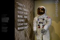 Neil Armstrong's Apollo 11 spacesuit after being unveiled for the first time in thirteen years, at the Smithsonian National Air and Space Museum in Washington, DC