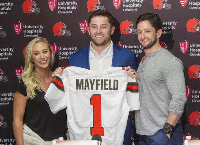 """<a class=""""link rapid-noclick-resp"""" href=""""/ncaaf/players/229650/"""" data-ylk=""""slk:Baker Mayfield"""">Baker Mayfield</a> was the No. 1 overall pick in the NFL Draft, but slow playing him for fantasy purposes is suggested. (AP Photo/Phil Long)"""