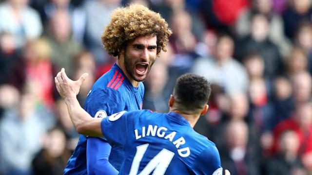 Marouane Fellaini and Jesse Lingard helped Manchester United to a 3-1 win at Middlesbrough that lifted them above Arsenal into fifth place.