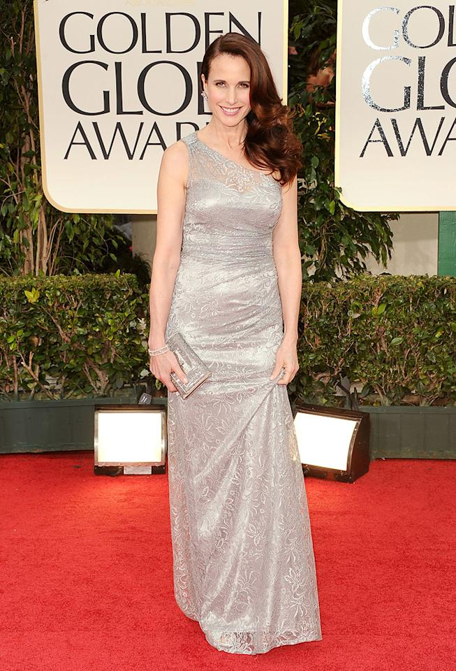 Andie MacDowell arrive at the 69th Annual Golden Globe Awards in Beverly Hills, California, on January 15.