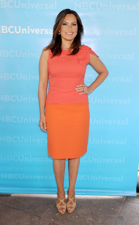 "Mariska Hargitay (""<a href=""http://tv.yahoo.com/law-order-special-victims-unit/show/131"">Law & Order: Special Victims Unit</a>"") arrives at NBC Universal's 2012 Summer Press Day at The Langham  Huntington Hotel and Spa on April 18, 2012 in Pasadena, California."