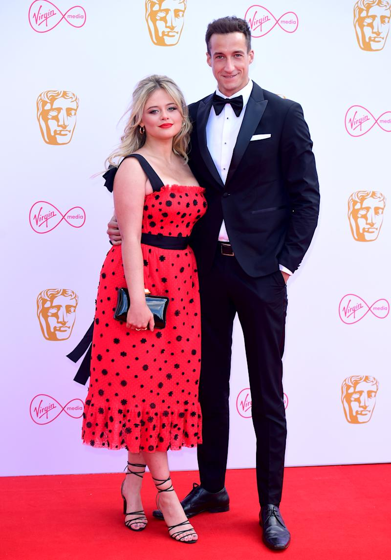 Emily Atack and Rob Jowers attending the Virgin Media BAFTA TV awards, held at the Royal Festival Hall in London. (Photo by Ian West/PA Images via Getty Images)