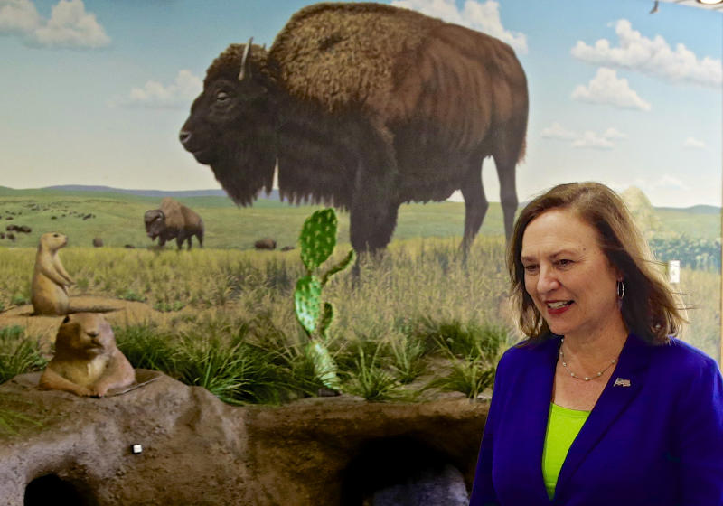 In this photo from April 29, 2013, Sen. Deb Fischer, R-Neb., walks past a prairie mural on her way to a town meeting in Nebraska City, Neb., Monday, April 29, 2013. Fischer's opposition to a pathway to citizenship for people in the country illegally resounds loudly with her rural Nebraska constituents, yet clashes with calls from Republicans elsewhere for compromise. (AP Photo/Nati Harnik)