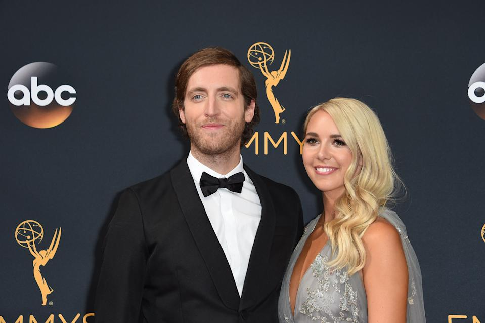 Actor Thomas Middleditch (L) and Mollie Gates arrive for the 68th Emmy Awards on September 18, 2016 at the Microsoft Theatre in Los Angeles.  / AFP / Robyn Beck        (Photo credit should read ROBYN BECK/AFP/Getty Images)