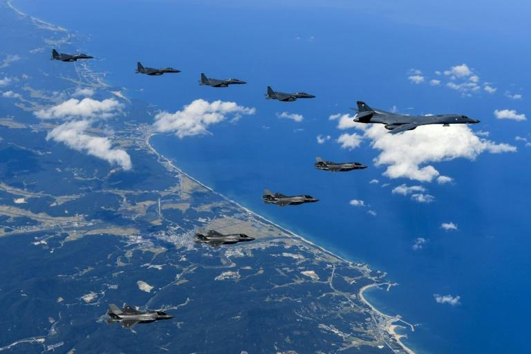 US aircraft, shown here conducting a mission over the Korean Peninsula, flew off the east coast of North Korea on September 23, 2017